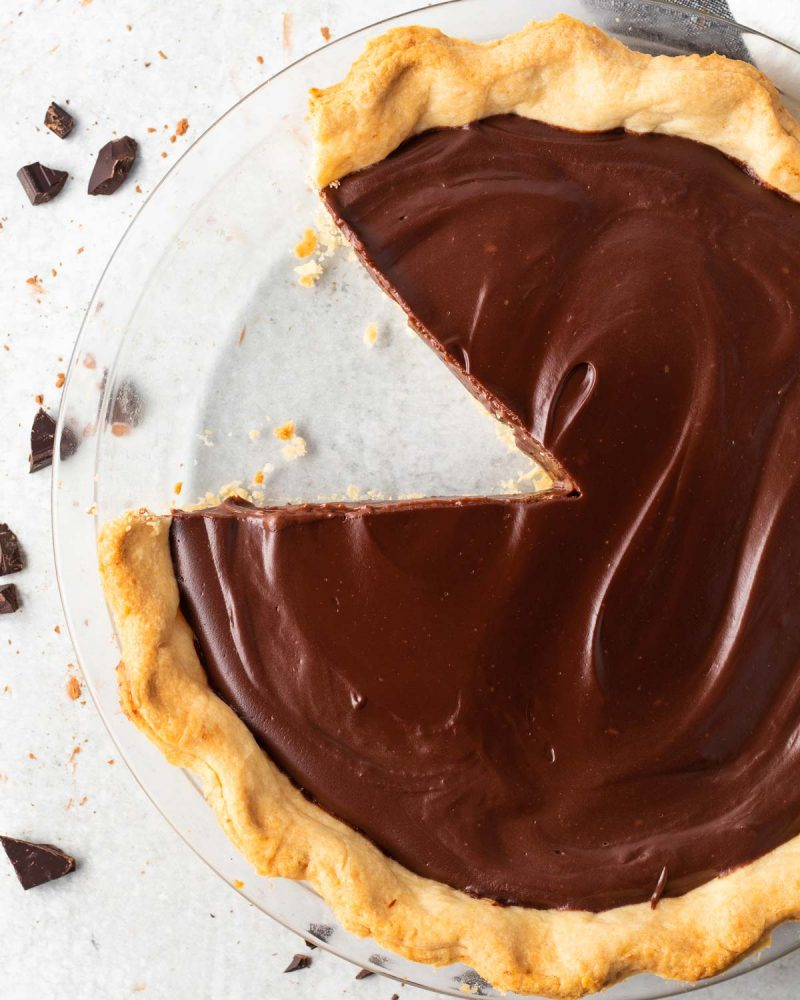 Chocolate pie in a glass pie dish