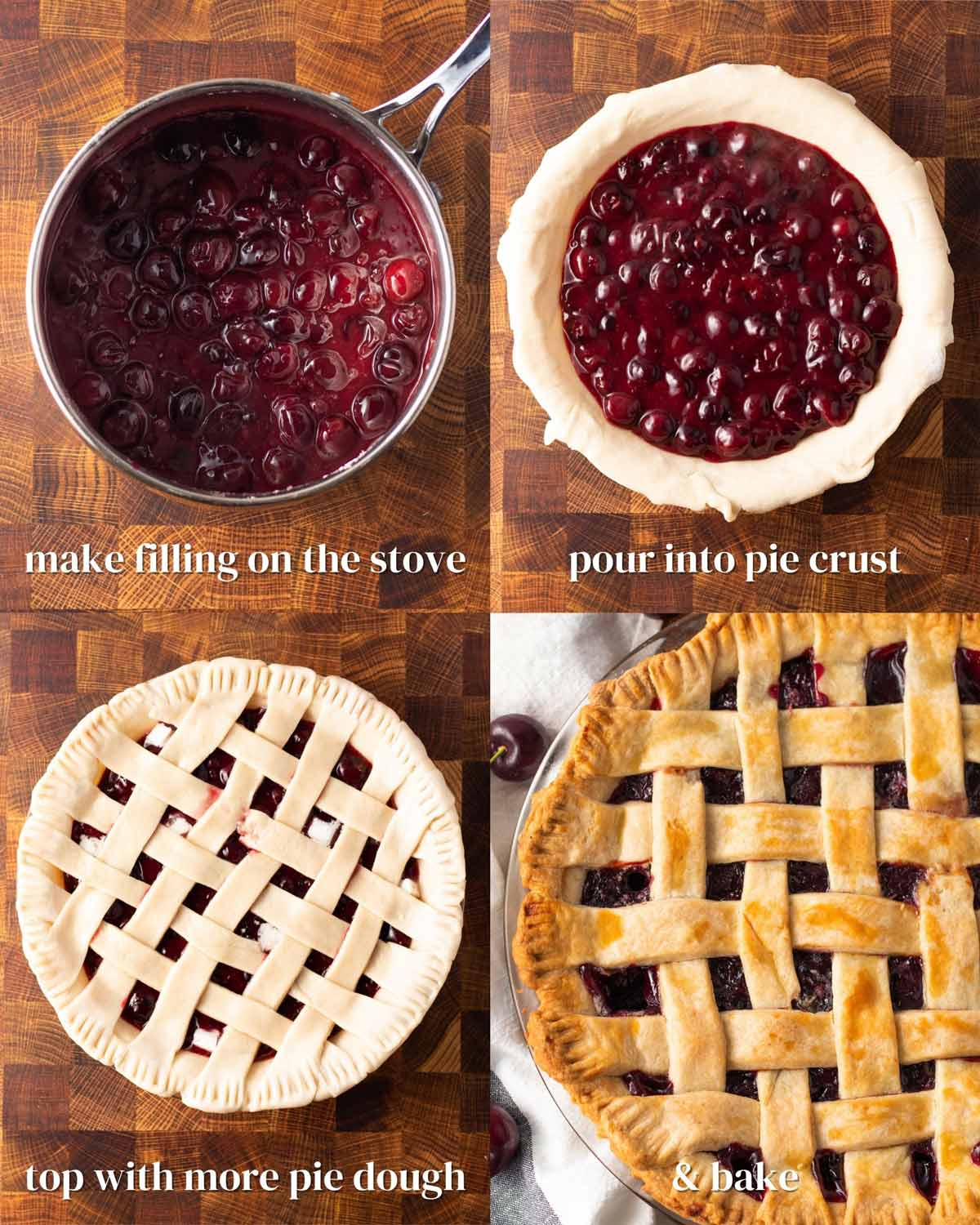 collage of the steps to make a lattice-topped vegan cherry pie