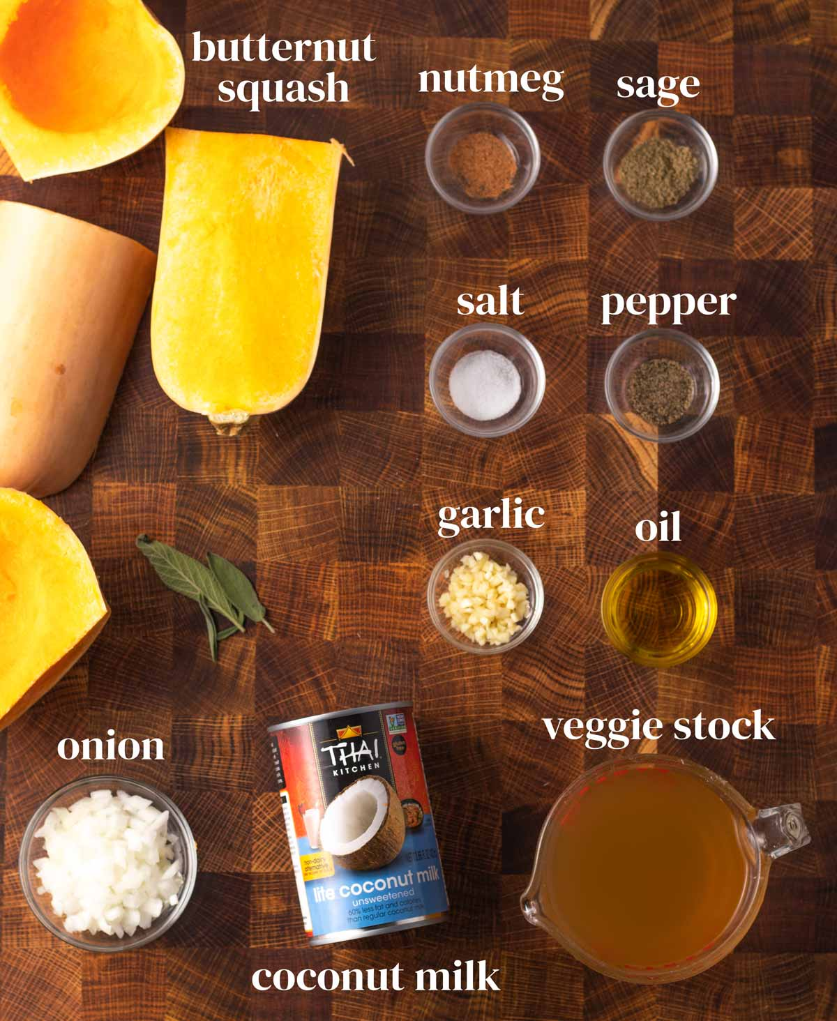 ingredients for vegan butternut squash soup with coconut milk, onions and vegetable stock