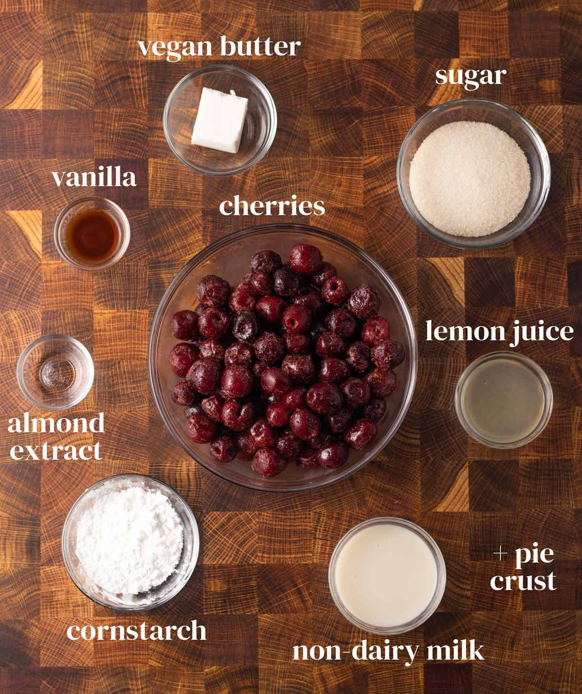 ingredients for cherry pie with dairy-free butter, sugar, and cornstarch