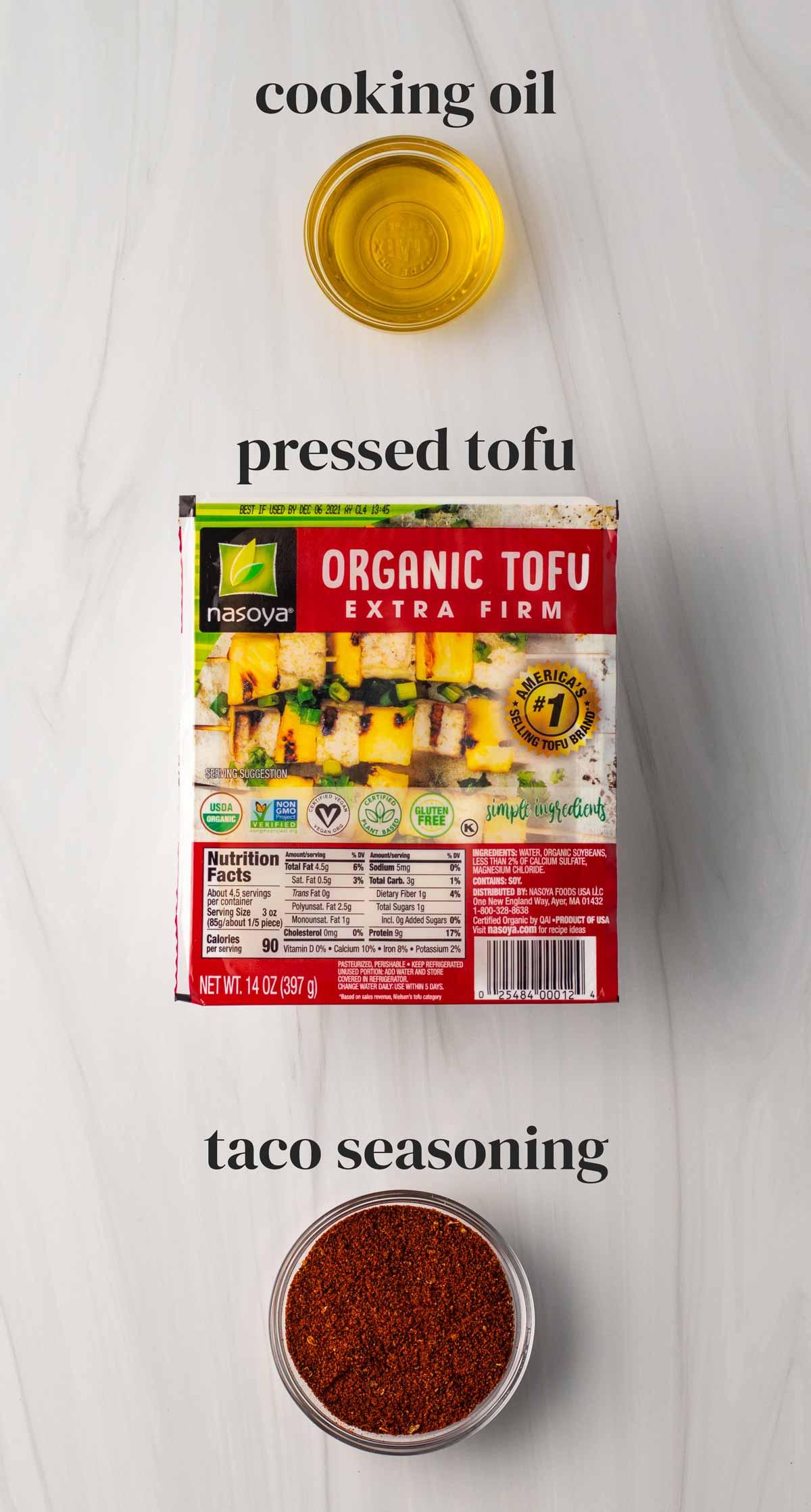 cooking oil, tofu and taco seasoning