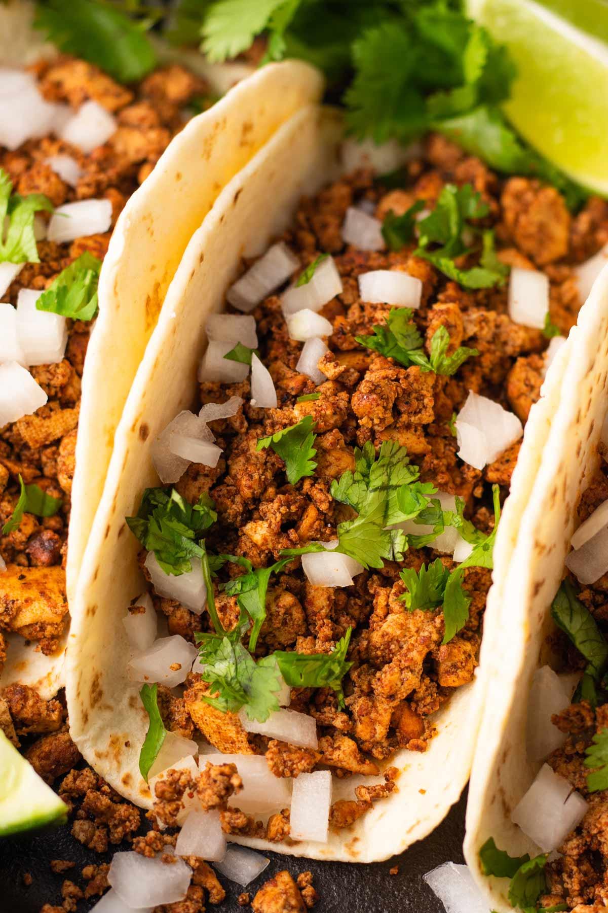 close up on tofu tacos