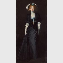 Jessica Penn in Black with White Plumes by Robert Henri (1908)