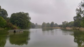 Lake with canoes located in Bois de Vincennes