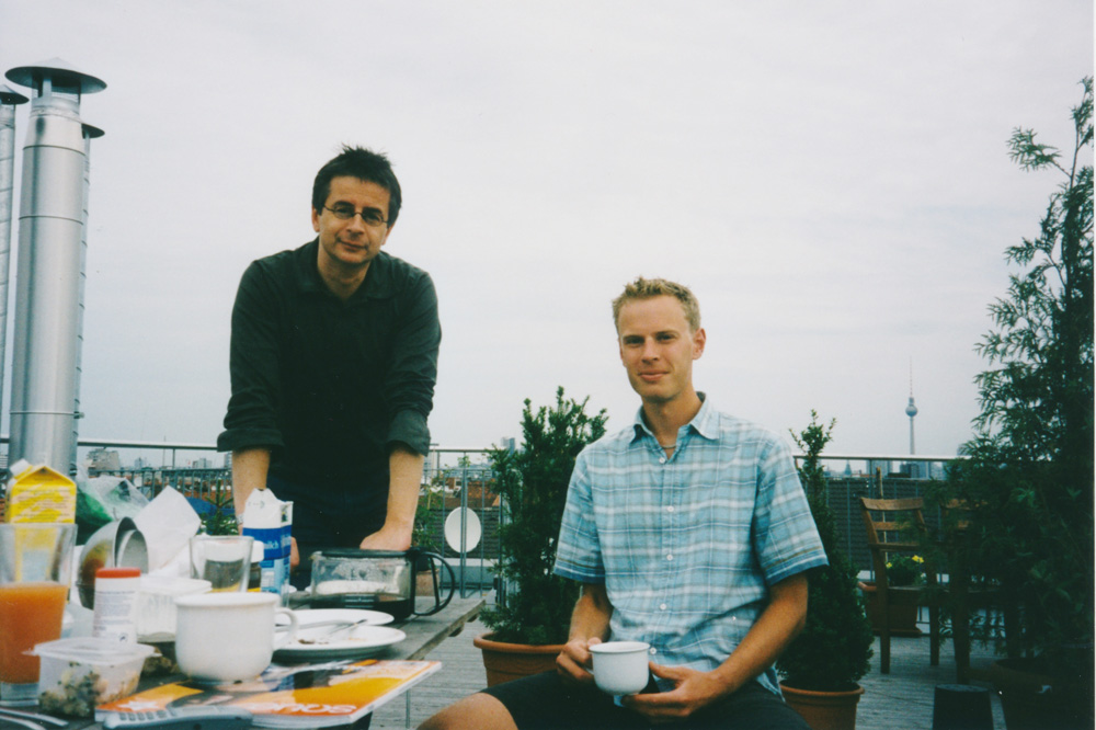 Andreas and me having breakfast on his roof terrace (some days later). The Fernsehturm can be seen in the background. In Berlin was where my Nutella cravings started. I ate six cans altogether during my tour.