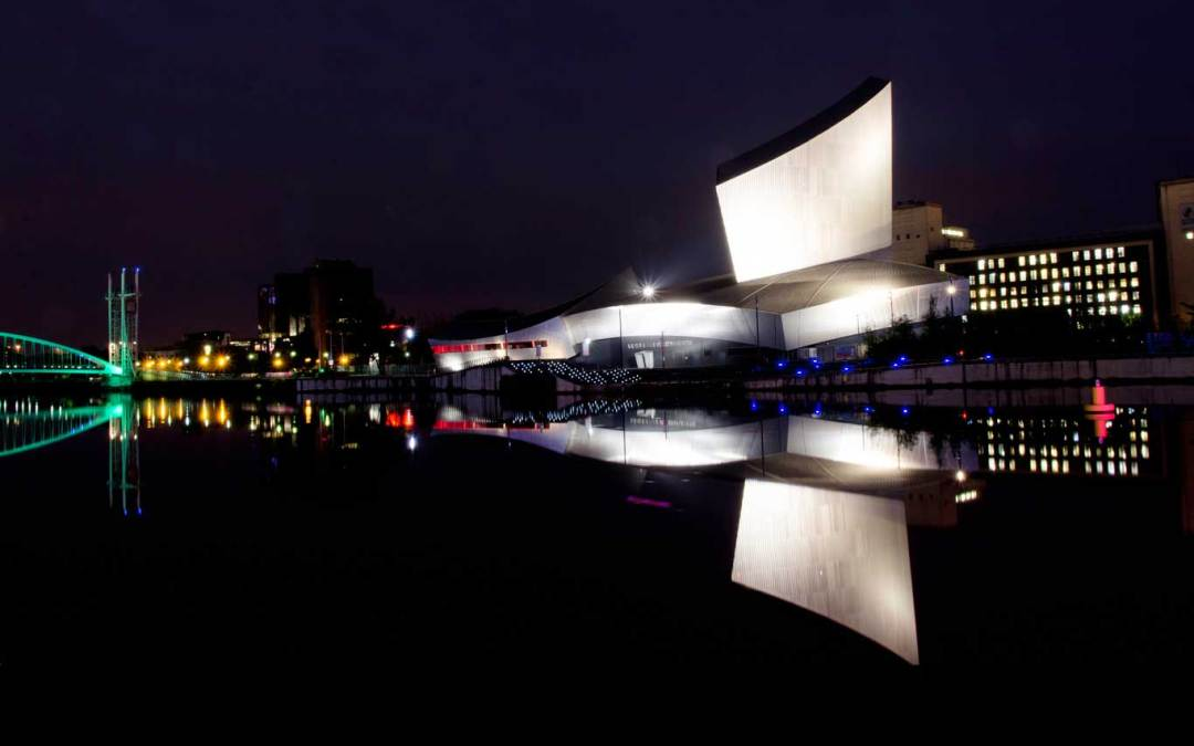 Photograph of Salford Quays at Night Reflected onto the Quays