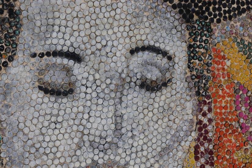 Netta Mural made out of bottle tops