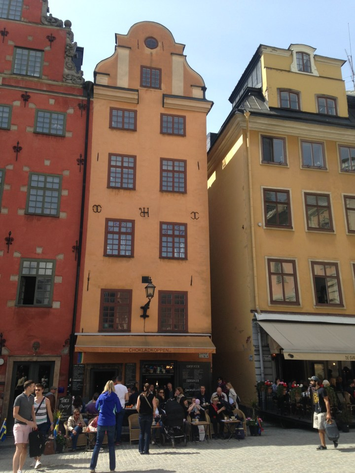 Two of Stockholm's most iconic buildings in the Gamla Stan.