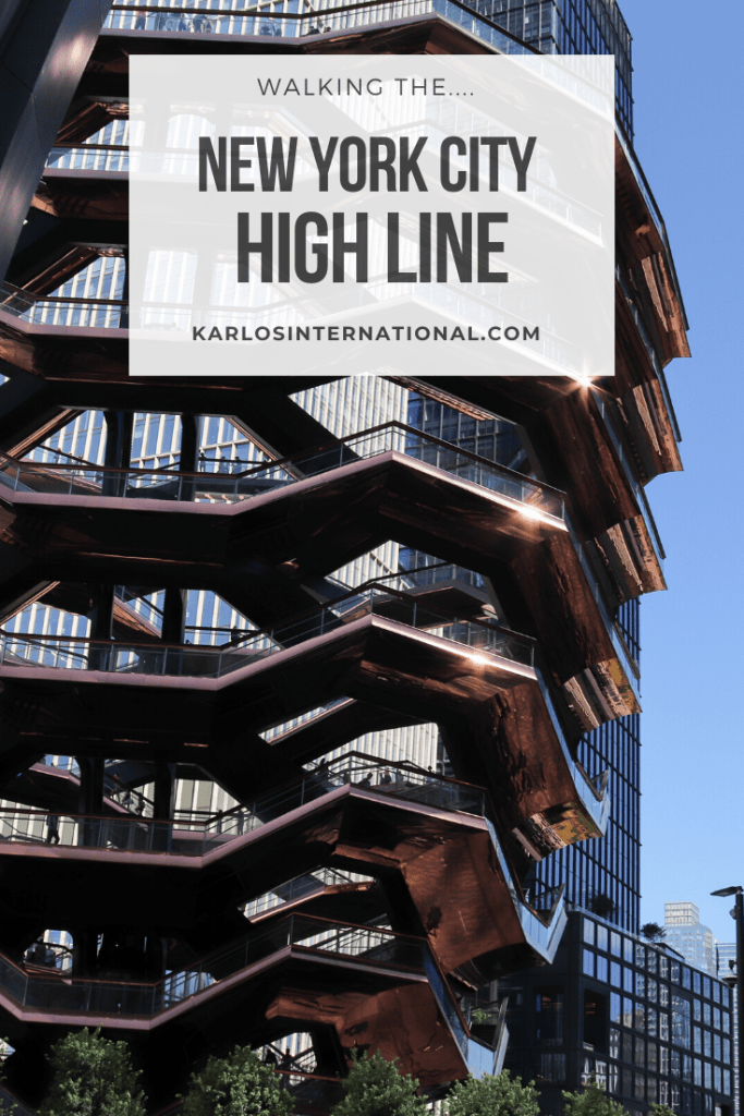 New York City High Line Walk - Title Card. A picture of the Vessel in front of blue skies