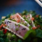 Tataki på tonfisk med edamemsallad och farofa i rökig tallrik