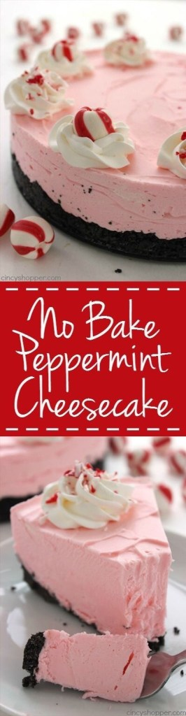 No Bake Peppermint Cheesecake
