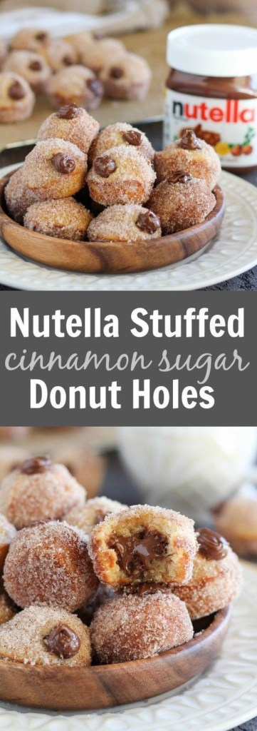 Nutella Stuffed Cinnamon Sugar Donut Holes