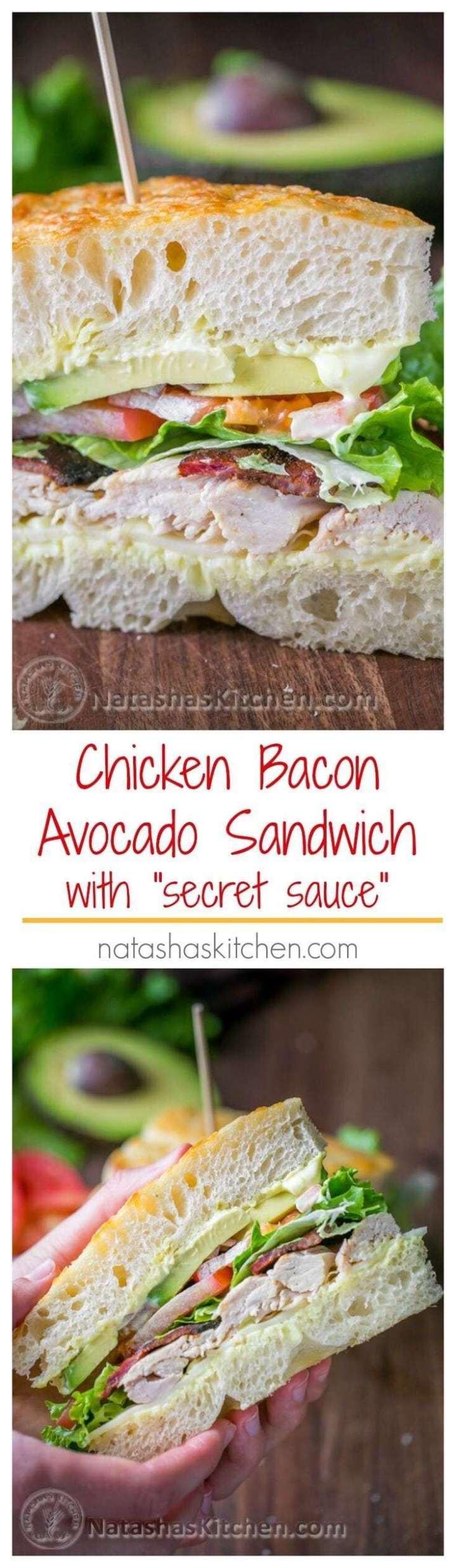 "Chicken Bacon Avocado Sandwich with ""Secret Sauce"" - - 20 Best Croissant Sandwich Recipes"