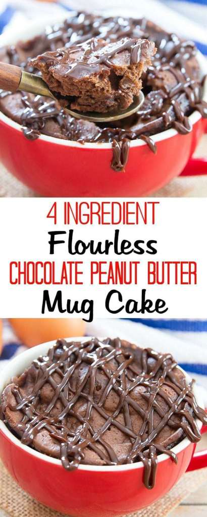 Flourless Chocolate Peanut Butter Mug Cake recipe