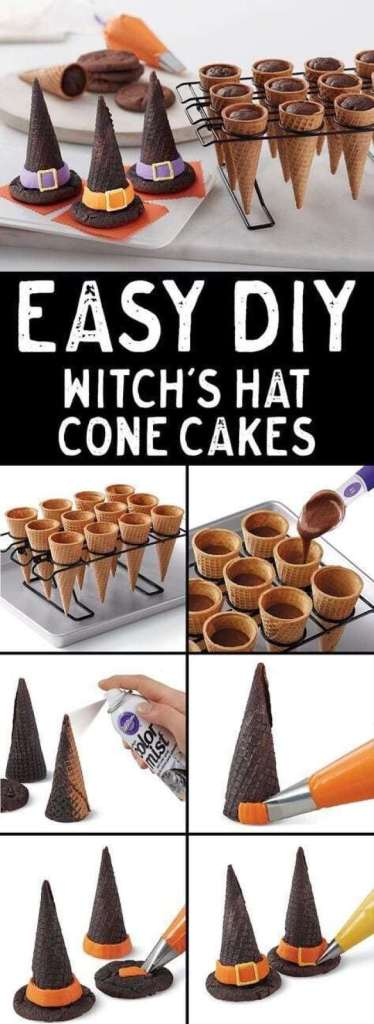 Easy DIY Witch's Hat Cone Cakes