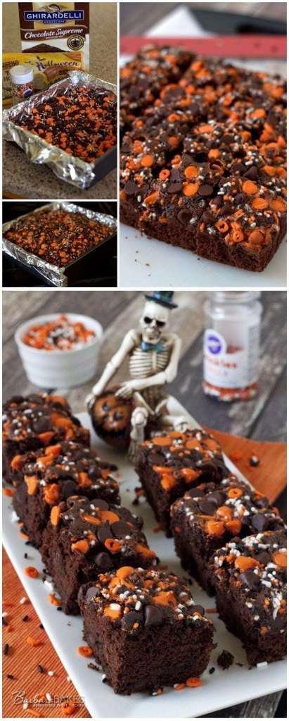 Quick & Easy Halloween Pumpkin Brownies