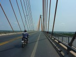 Roads in Vietnam are in great shape, and they seem to love big suspension bridges. The cool thing about biking the Mekong delta is you get to cross tons of bridges every day, big and small. Helps keep the scenery interesting, in an otherwise flat landscape.