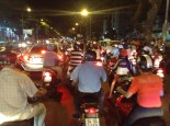 Traffic jam, from the back of a motorbike downtown Saigon.