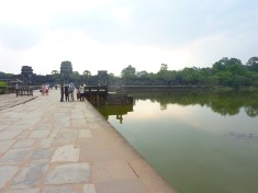 The main Angkor Wat temple is surrounded by a big square moat, about 500 m long on each side. This is from the bridge over the west side of the moat.
