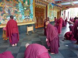 Monks coming to prayer
