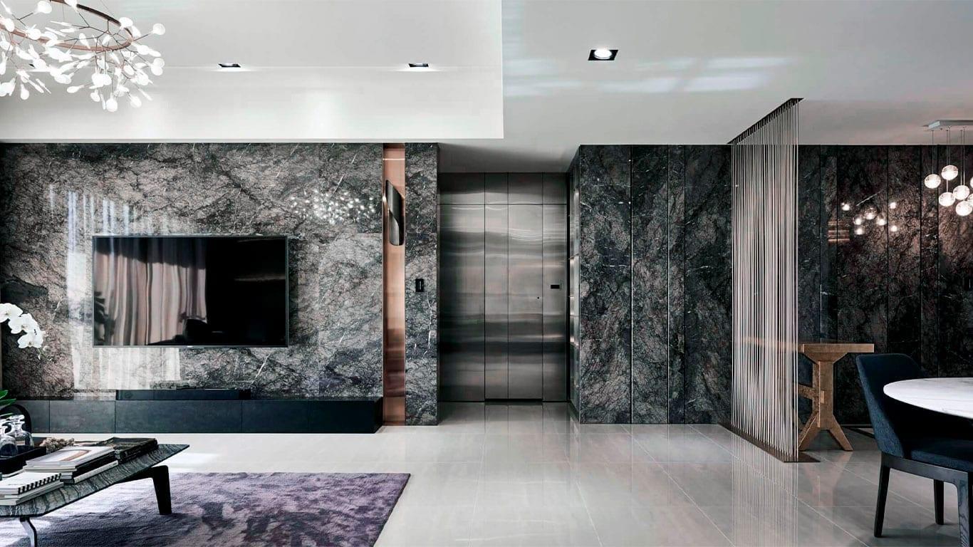rezidans salon siyah beyaz mermer tasarımı