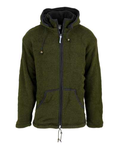 Army Green Knitted Hoody Jacket