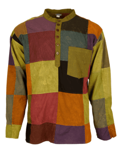 Patchwork shirt with granddad collar