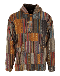 Patchwork Heavy Cotton Pullover Jacket