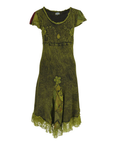 Karma Gear - Handmade Stonewashed cotton Flared dress with applique, embroidery, patchwork and lace detailing.