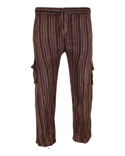 Striped Comfy Cotton Trousers brown