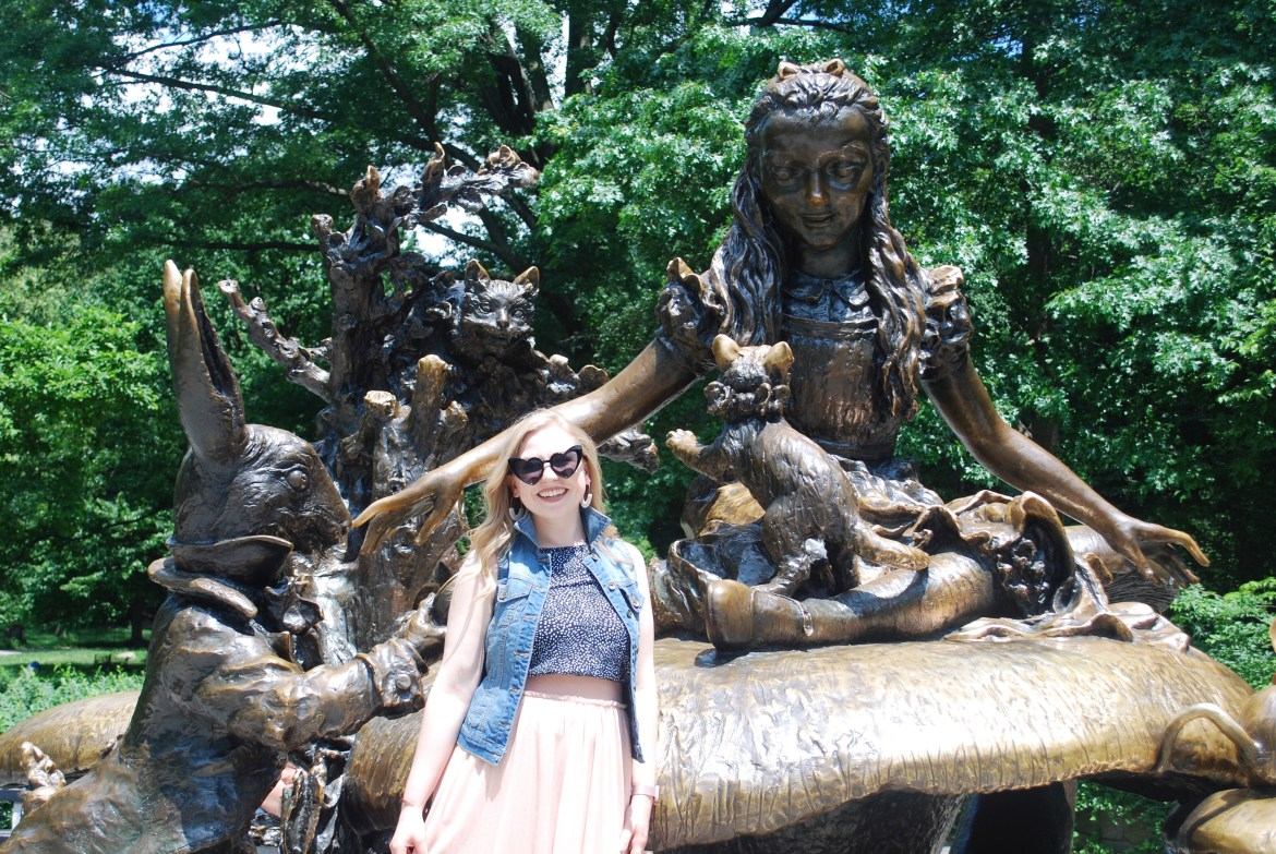 Kelly at the Alice in Wonderland statue in Central Park