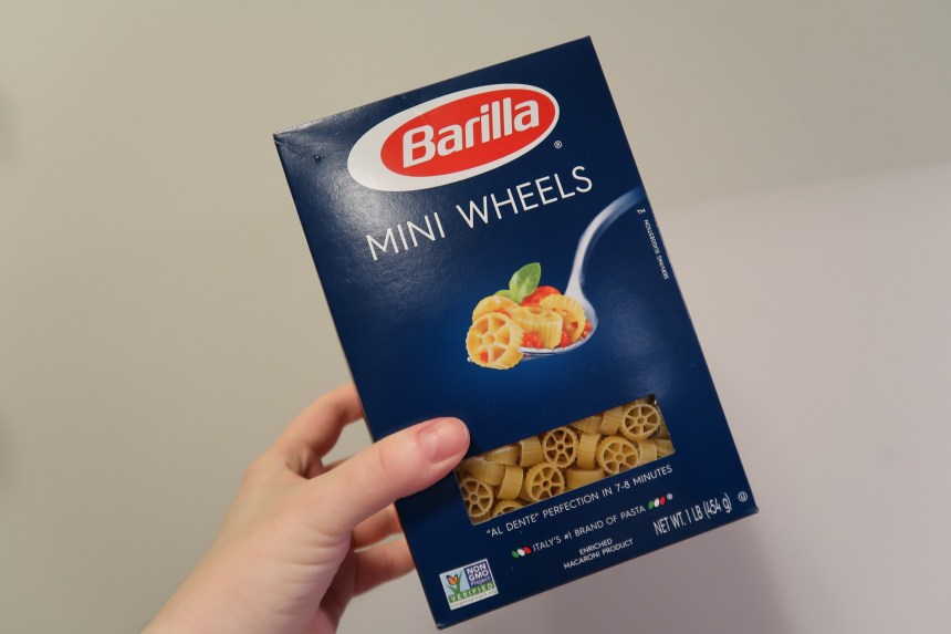 Mini wheel pasta used for our Maleficent dinner party
