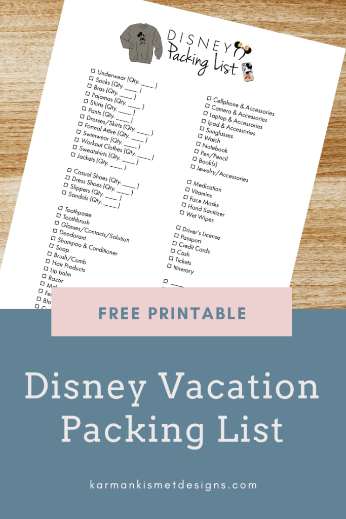 Disney Vacation Packing List