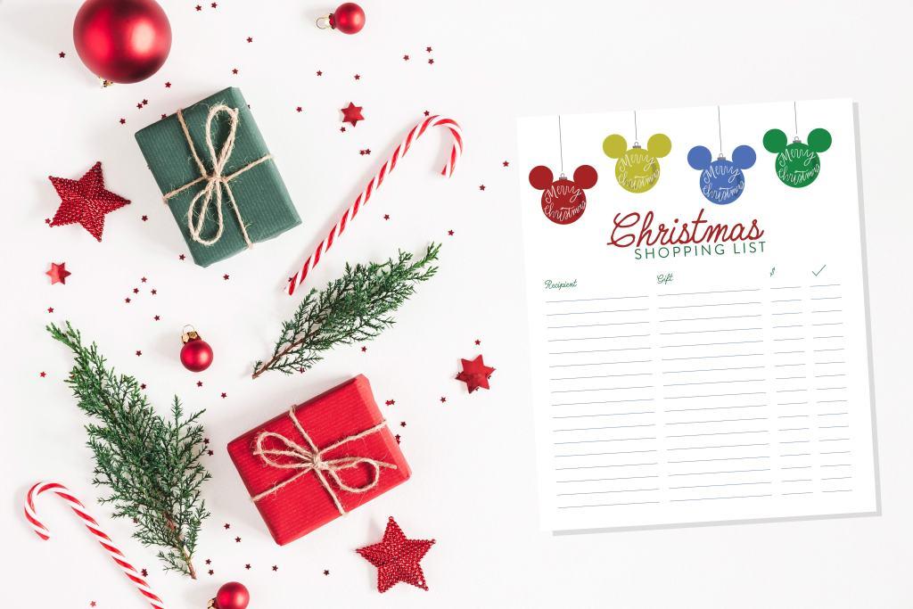 Printable Disney Christmas Shopping List