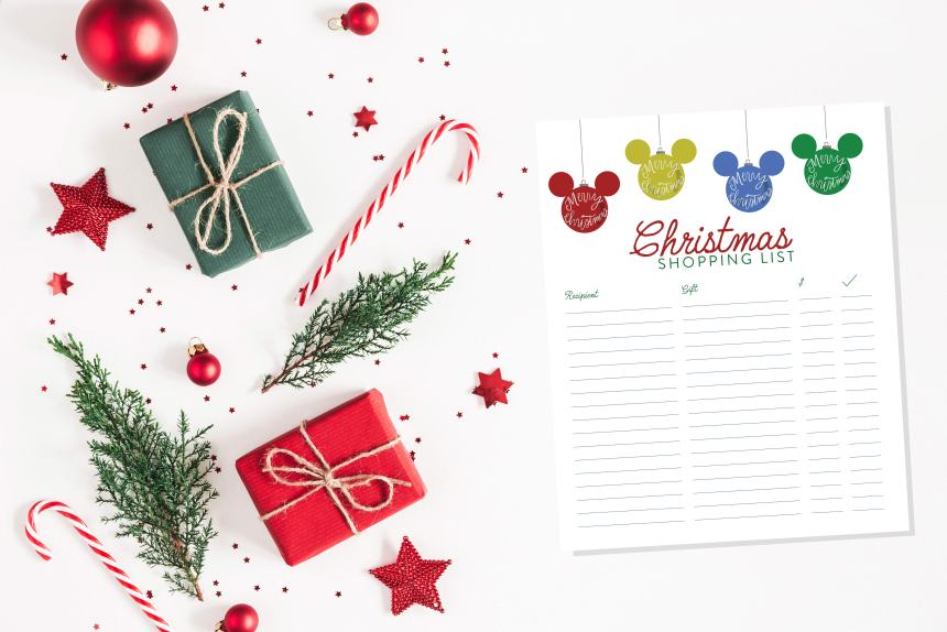 Printable Disney Christmas Shopping List