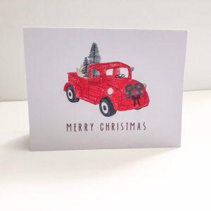 Disney Red Truck Christmas Card