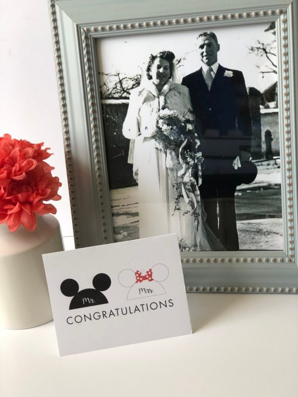 Mickey and Minnie Congratulations Wedding Card
