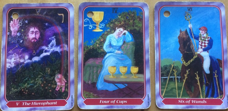 Hierophant, 4 of Cups, 6 of Wands
