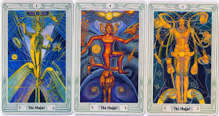 Three images for the Magician in the Thoth Tarot