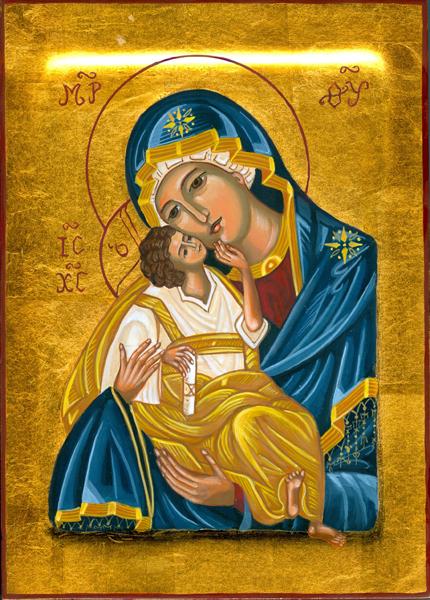 Handmålad ikon - Jungfru Maria