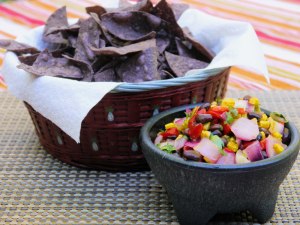 Black Bean Salsa and Cornchips.