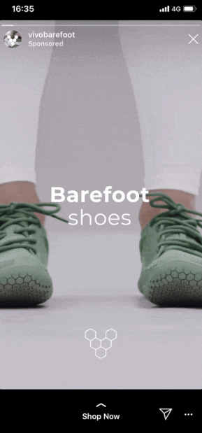 barefoot shoes instagram story ad