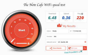 The Note cafe speed test fast wifi Hanoi