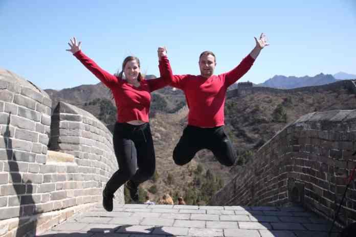 Jumping photo at The great Wall