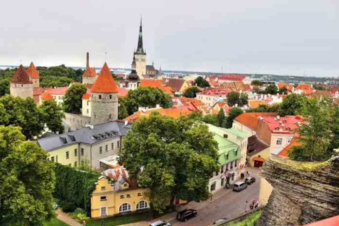 Tallinn old town aerial view colorful