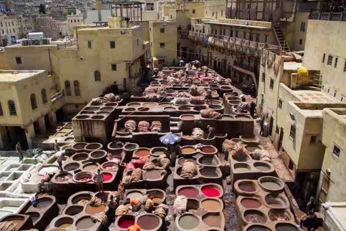 The colorful tanneries in the Fez medina