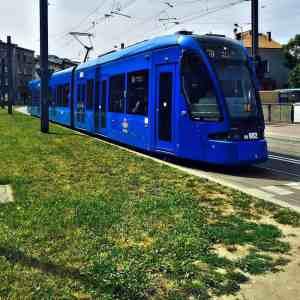 blue tram in krakow
