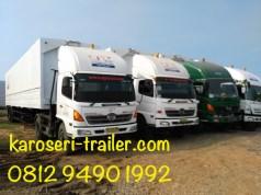 Karoseri wingbox trailer 40 FT Dewa Trans tampak depan siap kirim