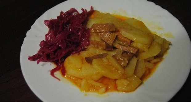 Paprikás krumpli vörös káposztával recept