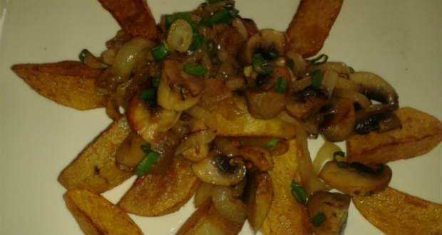 Sült krumpli gombával recept